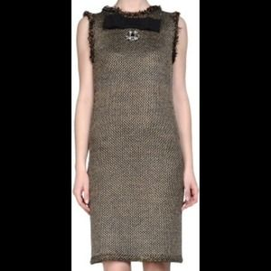 LANVIN Bow-Detail Shift Tweed Dress Small 0-2 NWT.