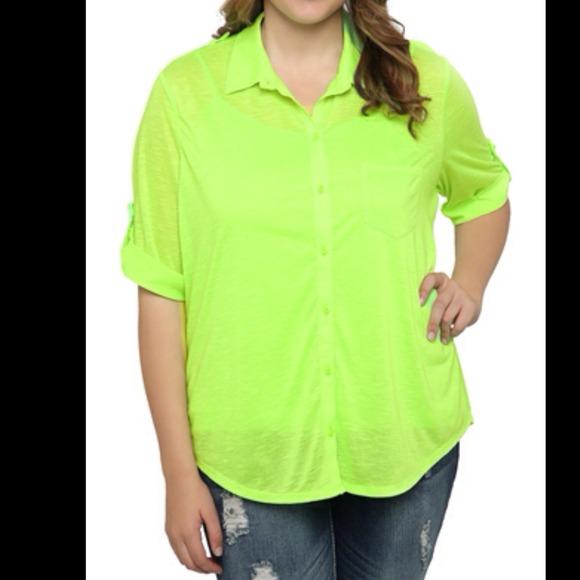 67% off Tops - Neon green button down shirt from 🔝 10% seller ...