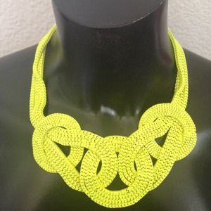 "Neon Yellow ""Knot"" Statement Necklace."