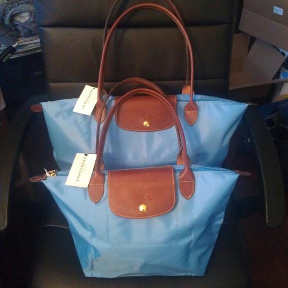 Longchamp Bags   Nwt Large Le Pliage Tote Bag Azure Blue   Poshmark 249aa0d33b