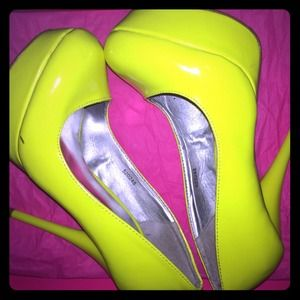 Charlotte Russe Shoes - Neon Yellow Pumps
