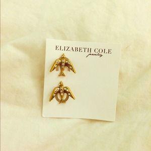 Gold and rhinestone bird earrings