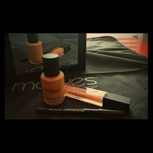 Custom Blend foundation, violet liner, lip gloss