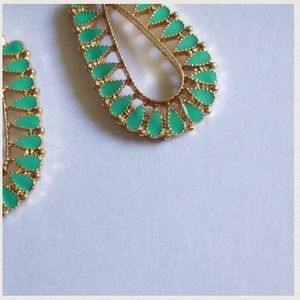 Jewelry - Mint Enamel Droplet Earrings