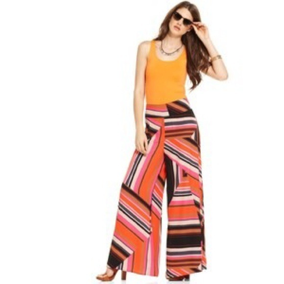 58% off Macy's Pants - Bar III Geometric Print Wide-Leg Palazzo ...