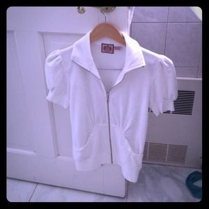 White terry short sleeve jacket