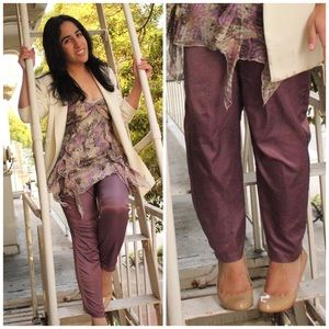 silence + noise Pants - Silence + Noise Purple High Waist Pants