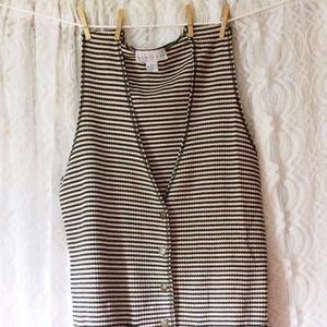 Green & White Striped Vest