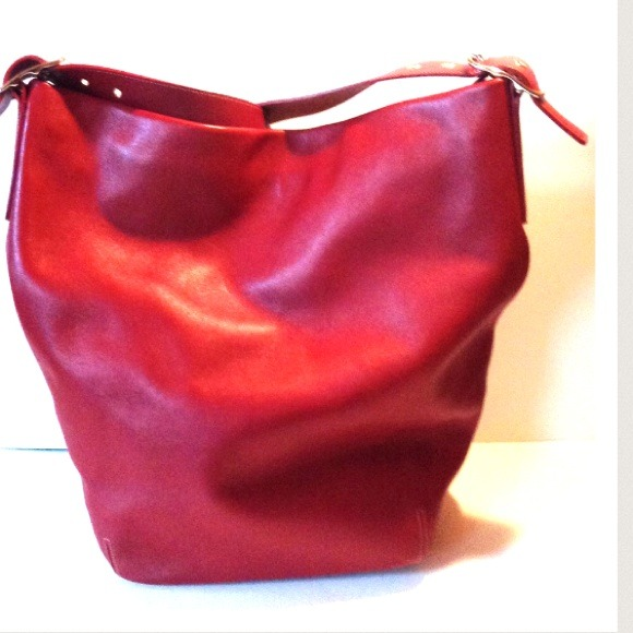 25% off Coach Handbags - NWOT Coach Red Leather XL Bucket Duffle ...