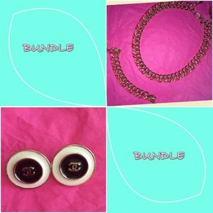 Jewelry - Pink/Gold Matching Set and Chanel earrings BUNDLE