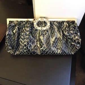 Handbags - New Black & Silver Snake Skin Clutch