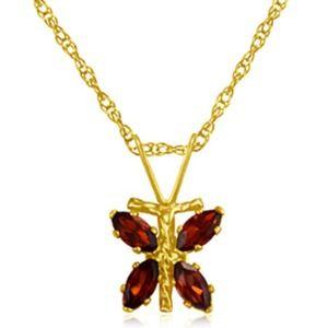Jewelry - 10k gold 3/4ctw Garnet dragonfly pendant w/chain