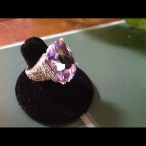 Huge lavender faux stone and silver ring flash $42