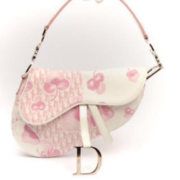 cb28c255ece Dior Handbags - 💗Christian Dior White Pink Floral Logo Saddle Bag
