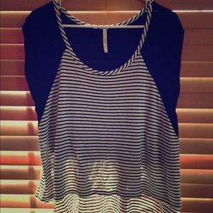 Tops - Hi-low black&white striped top