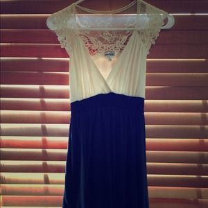 Dresses & Skirts - Navy dress with lace top