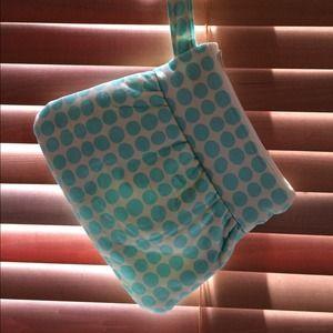 Handbags - Teal polka dot clutch
