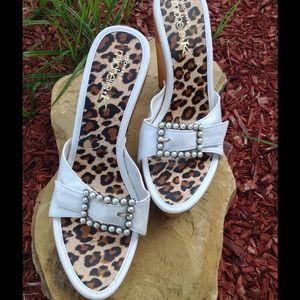 fffbf4ef0b4a Skechers by Michelle K Shoes - WHITE WOODEN HEEL WEDGES
