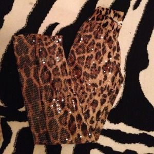 Outerwear - Leopard sequin stretchy tights❤️