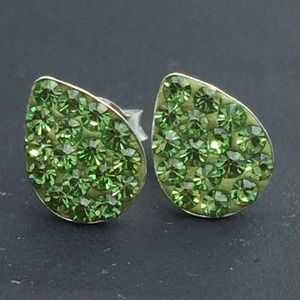 Sterling Silver 925 Peridot Green Crystal Studs