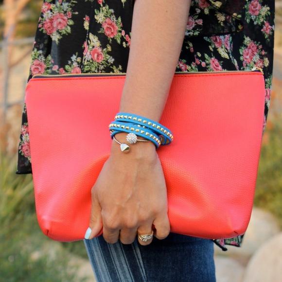 🎉Orange red zipper fold over clutch purse bag