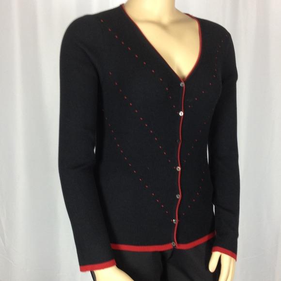 Max Studio - Max Studio Silk Blend Black cardigan with red Trim ...