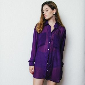 American Apparel Tops - Purple Oversized Chiffon Button Down Blouse
