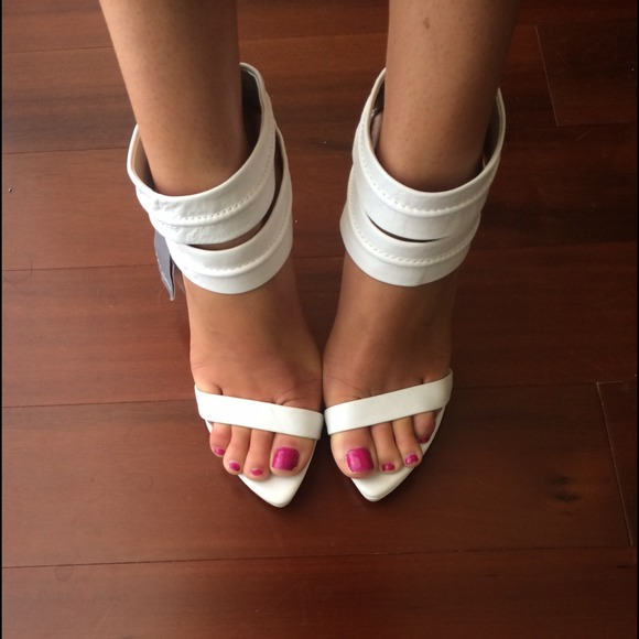 46% off Zara Shoes - Zara White Leather High Heel Strappy Sandals
