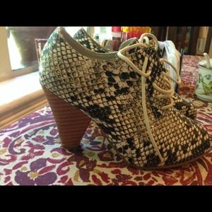 Forever 21 Shoes - Forever 21 snake print lace up peep toe booties