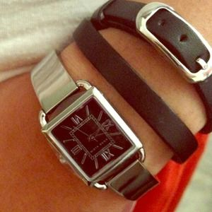 Chrome square face watch