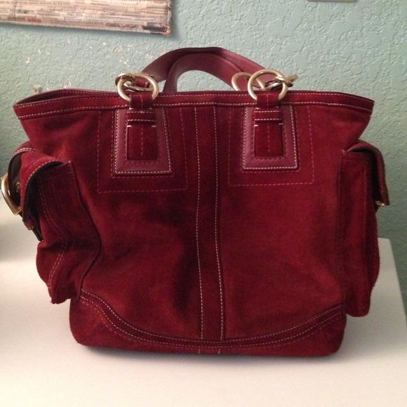 Coach Handbags -   reduced price   Coach Suede Bag Burgundy Wine eb88322ffc