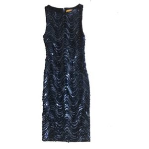 Size 0 Navy Sequined Alice + Olivia Drsss