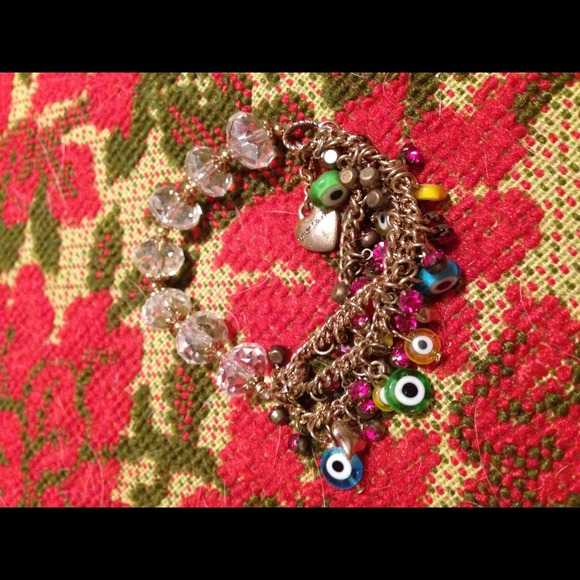 Betsey Johnson evil eye stretch crystal bracelet