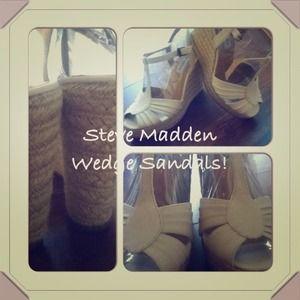 Steve Madden creme woven wedge sandals, 8.5