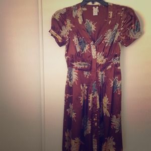 100% Silk Floral Brown Dress from F21