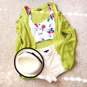 Outerwear - Yellow Green Cardigan with Cut-Out Shoulders
