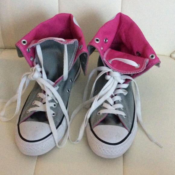 4f00dc51ece74e NEW Converse chuck Taylor high top grey hot pink