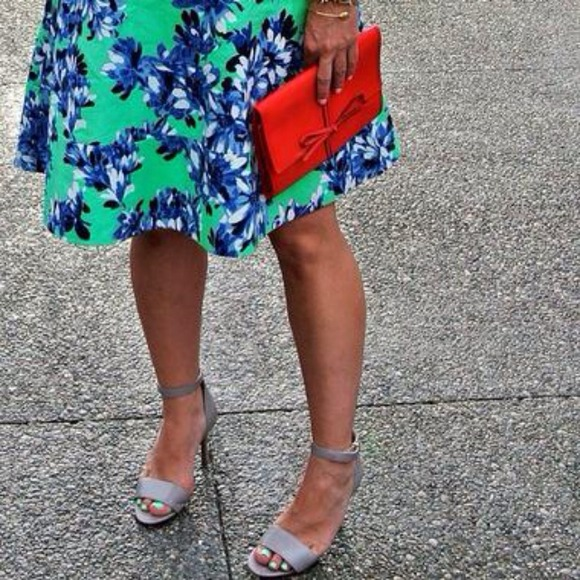 74e50b704cb0 Nine West izzy sandals ankle strap high heels gray