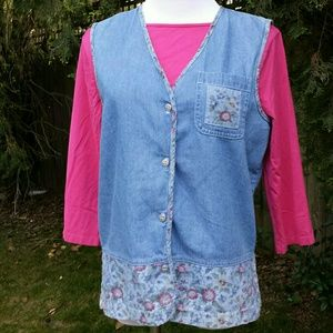 Jackets & Blazers - Denim Vest with Floral Print Trim