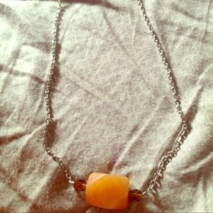 "Jewelry - Big stone bar/layering necklace 16"""