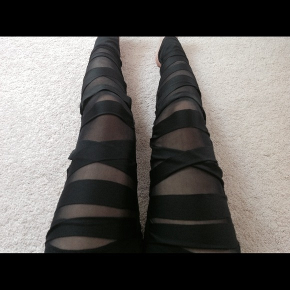 72% off Pants - Black see-through striped cut-out leggings from ...