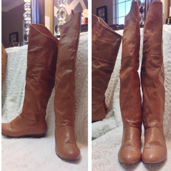 76% off ALDO Boots - Aldo thigh high riding boots leather tan 8 ...