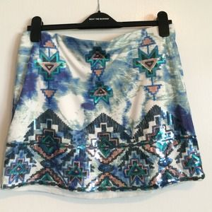 Sequin // printed skirt