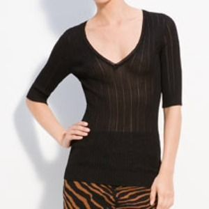 M Missoni V Neck Pointelle-Knit Black Pullover NWT