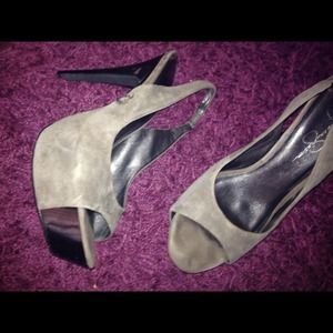 silver & Gray Suede Jessica Simpson pumps