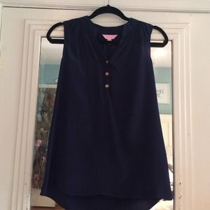Lilly Pulitzer Tops - Lilly Pulitzer navy silk top