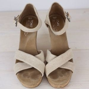 TOMS Shoes - TOMS Strappy Nude Wedges