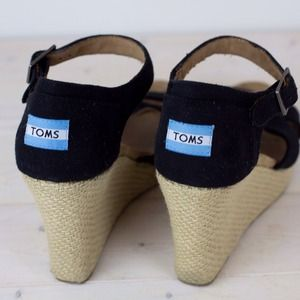 TOMS Shoes - TOMS Strappy Black Wedges