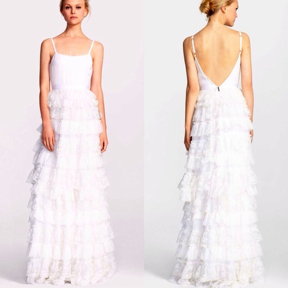 Alice Olivia Dresses Alice Olivia Ruffled Lace Gown Simple White