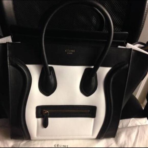 celine wallets online - 38% off Celine Handbags - Authentic Celine Black and White Nano ...